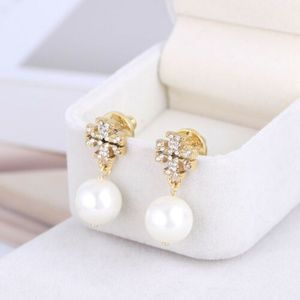Tory Burch Crystal Logo Gold Pearl Drop Earrings